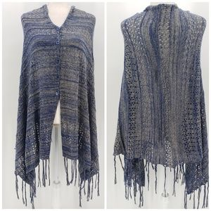 LulaRoe Blue & Gray Knit Sweater Poncho One Size